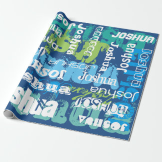 Personalized Name Blue Green Subway Art Design