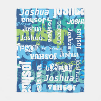 Personalized Name Blue Green Subway Art Fleece Blanket