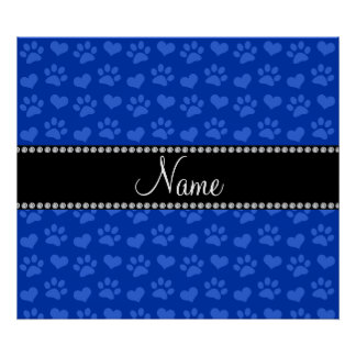 Personalized name blue hearts and paw prints poster