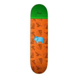 Personalized name blue hippo orange leaves skate deck