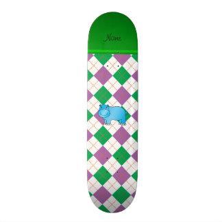 Personalized name blue hippo purple green argyle skate deck