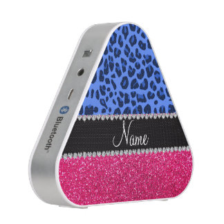 Personalized name blue leopard pink glitter speaker