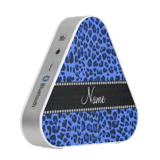 Personalized name blue leopard print speaker