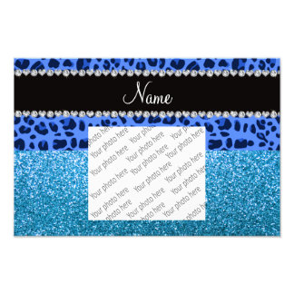 Personalized name blue leopard sky blue glitter photo print