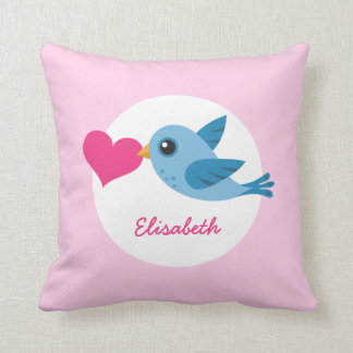 Personalized name blue love bird with pink heart throw pillow