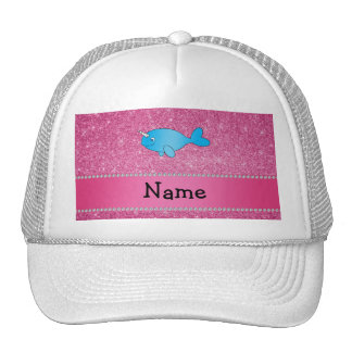 Personalized name blue narwhal pink glitter trucker hat