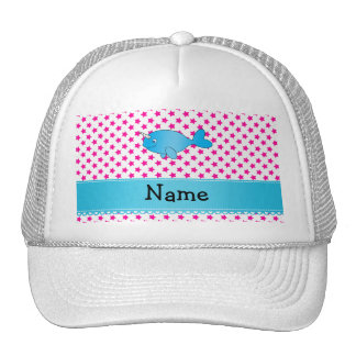 Personalized name blue narwhal pink stars trucker hat