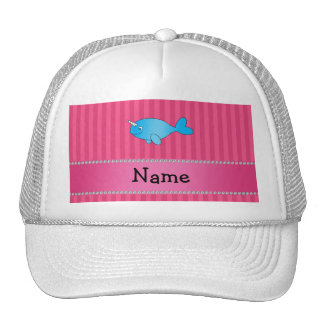 Personalized name blue narwhal pink stripes trucker hat