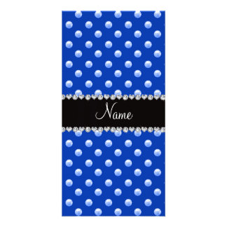 Personalized name blue pearls photo greeting card