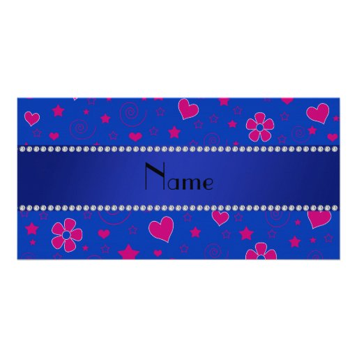 Personalized name blue pink flowers hearts stars personalized photo card