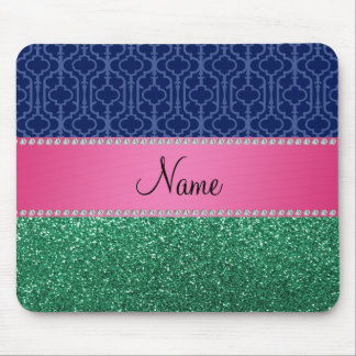 Personalized name blue quatrefoil green glitter mouse pad