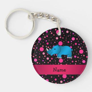 Personalized name blue rhino pink polka dots Single-Sided round acrylic keychain