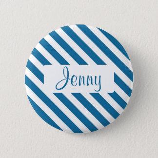 Personalized name blue stripe 2 inch round button