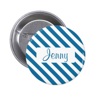 Personalized name blue stripe 2 inch round button