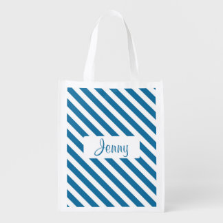 Personalized name blue stripe reusable grocery bag