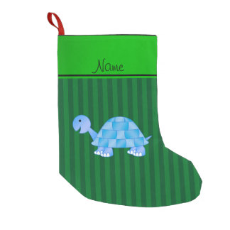 Personalized name blue turtle green stripes small christmas stocking