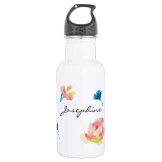 Personalized Name, Boho Flower watercolor painting 532 Ml Water Bottle
