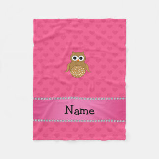Personalized name brown owl pink hearts fleece blanket