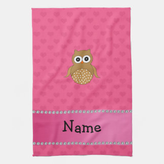 Personalized name brown owl pink hearts kitchen towel