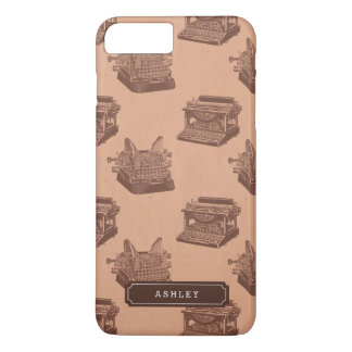 Personalized Name Brown Vintage Typewriter Pattern iPhone 8 Plus/7 Plus Case
