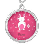 Personalized name bunny pink snowflakes