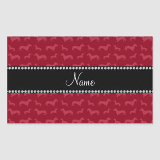 Personalized name burgundy dachshunds rectangle stickers