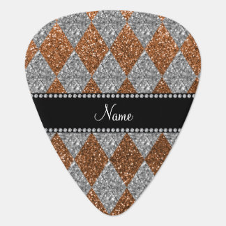 Personalized name burnt gold glitter argyle pick