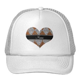 Personalized name burnt gold glitter argyle trucker hat