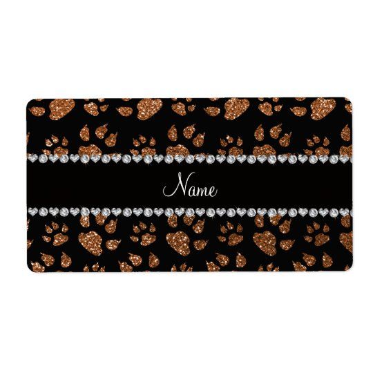 Personalized name burnt gold glitter cat paws shipping label