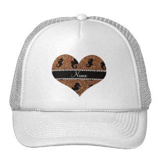 Personalized name burnt gold glitter seahorses trucker hat