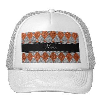 Personalized name burnt orange glitter argyle trucker hat