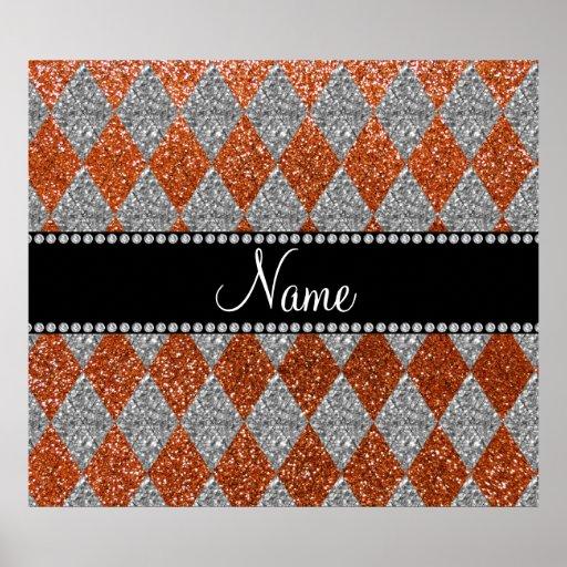 Personalized name burnt orange glitter argyle print