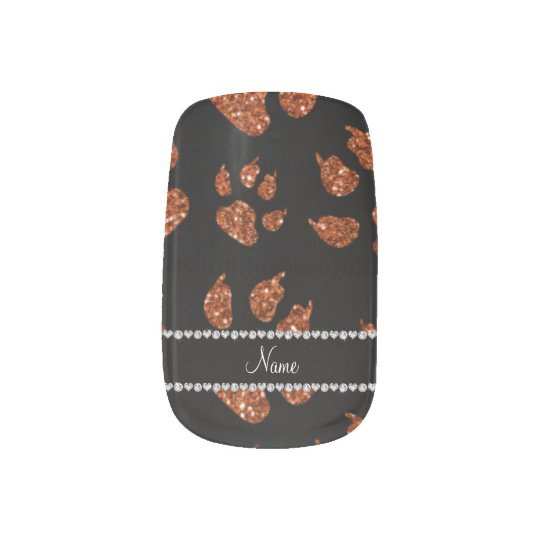 Personalized name burnt orange glitter cat paws minx nail art