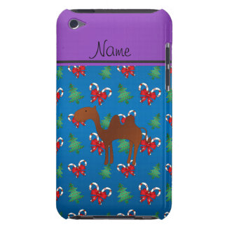 Personalized name camel blue candy canes bows barely there iPod cases