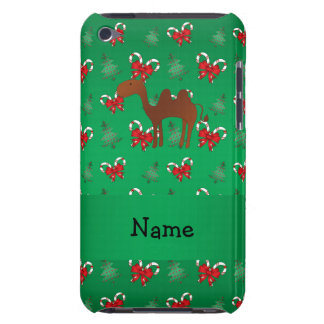 Personalized name camel green candy canes bows iPod touch cover