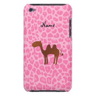 Personalized name camel light pink leopard iPod touch cases