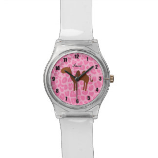 Personalized name camel light pink leopard watch