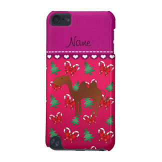 Personalized name camel magenta candy canes bows iPod touch (5th generation) covers