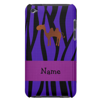 Personalized name camel purple zebra stripes iPod Case-Mate case