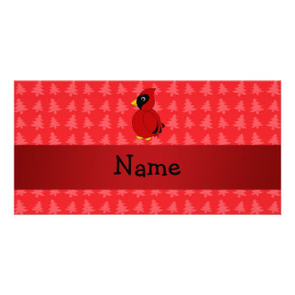 Personalized name cardinal red christmas trees customized photo card