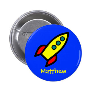 Personalized Name - Cartoon Rocket Ship 2 Inch Round Button