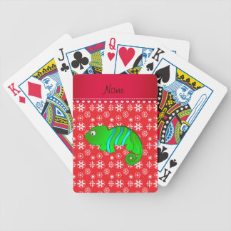 Personalized name chameleon red snowflakes poker deck