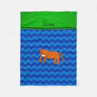 Personalized name cheetah blue chevrons fleece blanket