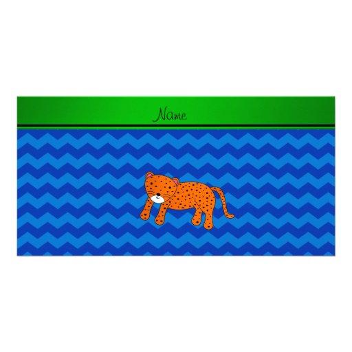 Personalized name cheetah blue chevrons custom photo card