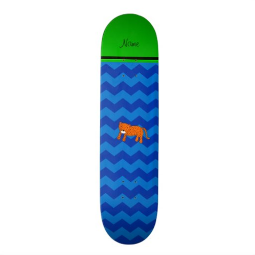 Personalized name cheetah blue chevrons skate deck