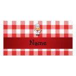 Personalized name chef red white checkers personalized photo card