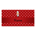 Personalized name chef red white polka dots photo cards
