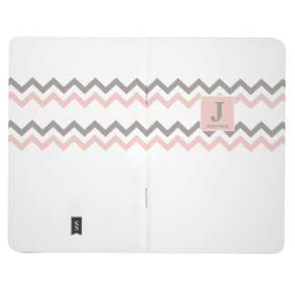 Personalized name, Chevron, Pink and brown pattern Journal