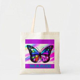 Personalized Name Colorful Butterfly Grocery Tote