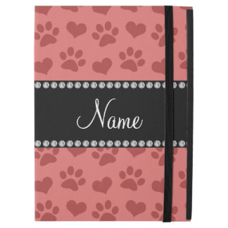 Personalized name coral pink hearts and paw prints